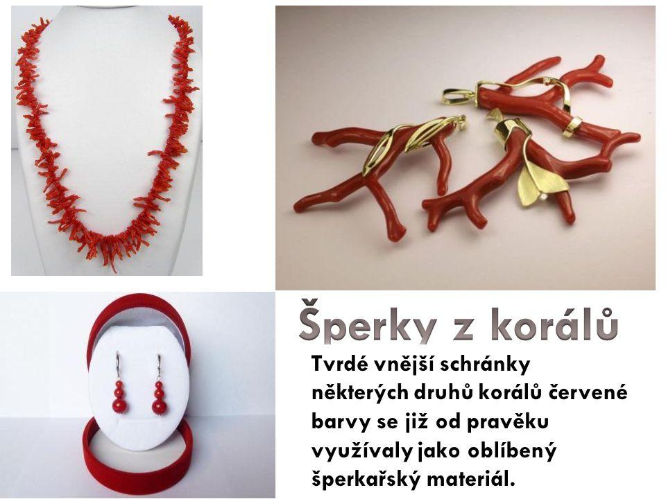 Šperky z korálů Tvrdé vnější schránky některých druhů korálů červené barvy se již od pravěku využívaly jako oblíbený šperkařský materiál.