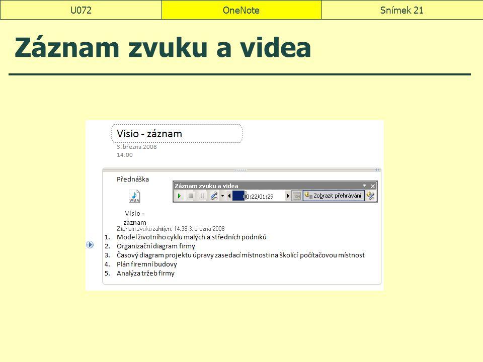 U072 OneNote Záznam zvuku a videa