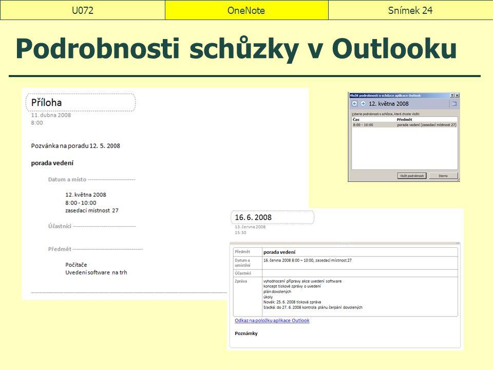 Podrobnosti schůzky v Outlooku