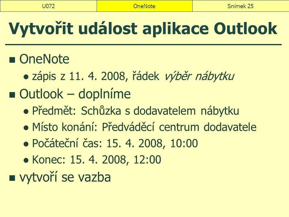 Vytvořit událost aplikace Outlook