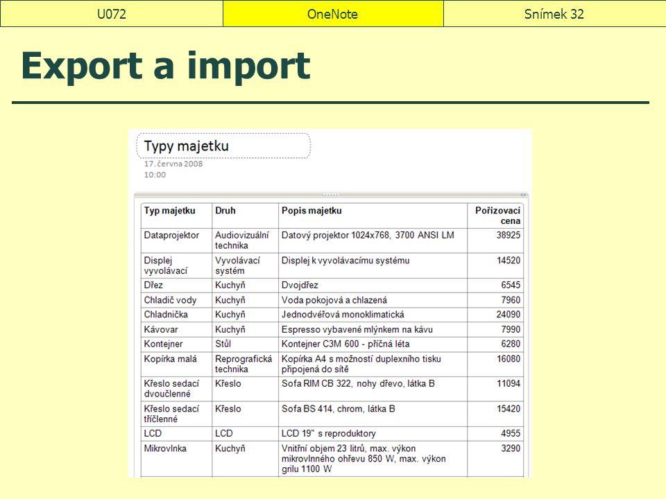 U072 OneNote Export a import