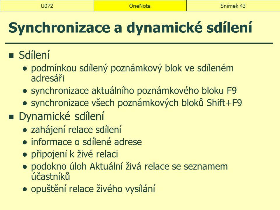 Synchronizace a dynamické sdílení