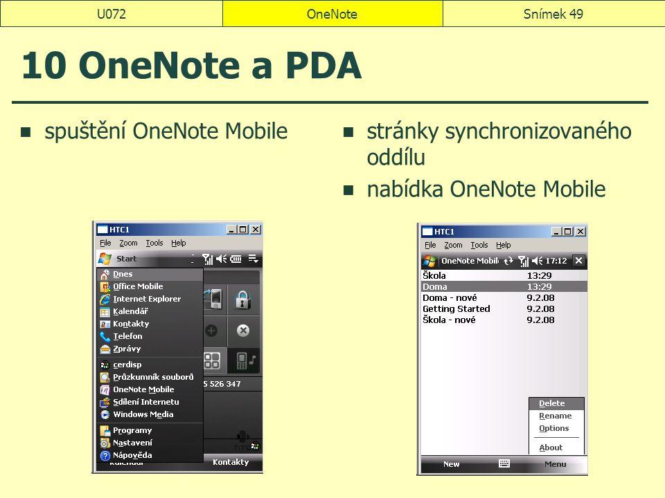 10 OneNote a PDA spuštění OneNote Mobile