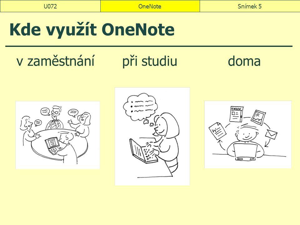 U072 OneNote Kde využít OneNote v zaměstnání při studiu doma