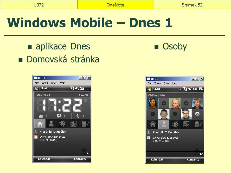 Windows Mobile – Dnes 1 aplikace Dnes Domovská stránka Osoby U072