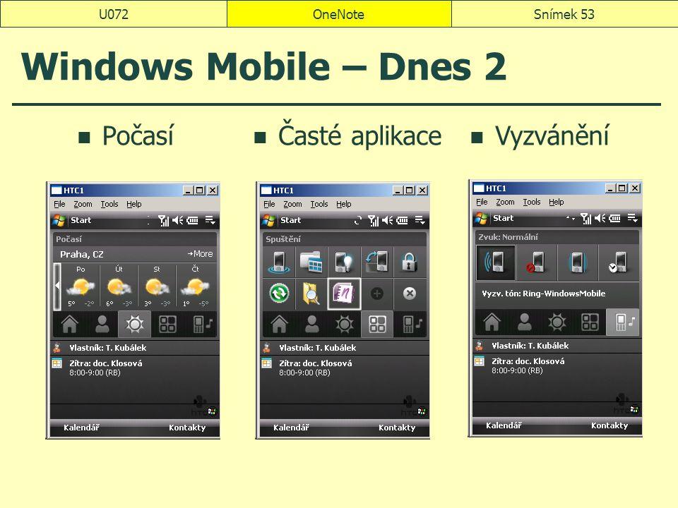 U072 OneNote Windows Mobile – Dnes 2 Počasí Časté aplikace Vyzvánění