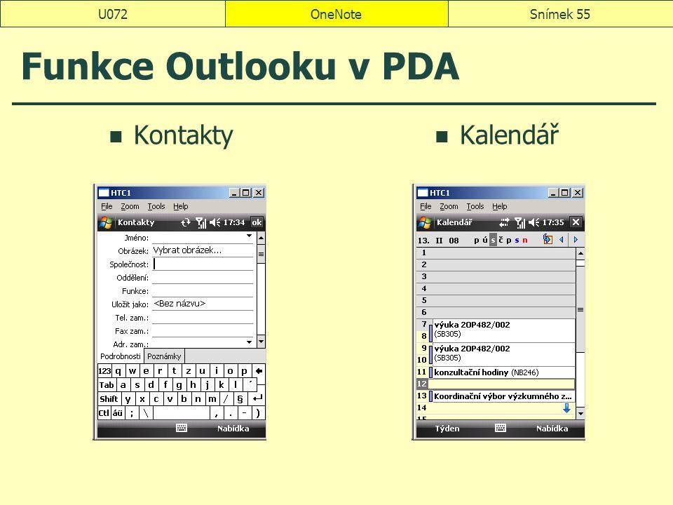 U072 OneNote Funkce Outlooku v PDA Kontakty Kalendář