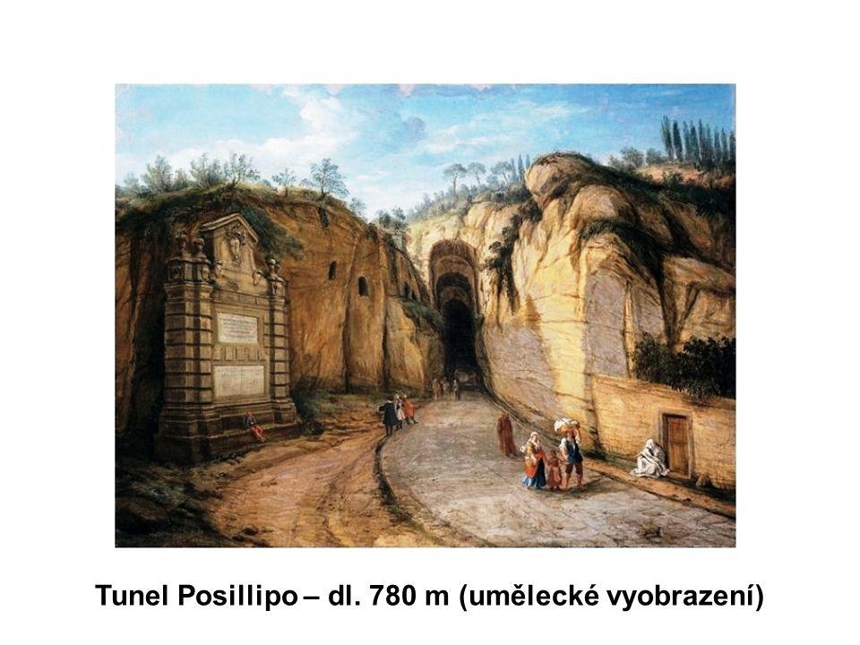 Tunel Posillipo – dl. 780 m (umělecké vyobrazení)