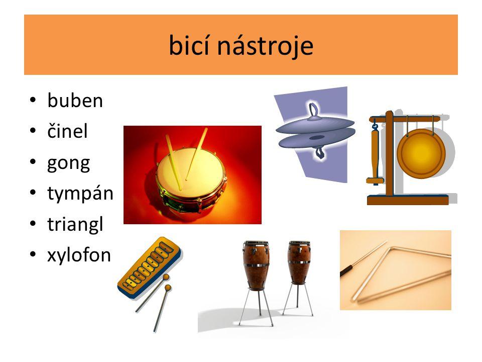 bicí nástroje buben činel gong tympán triangl xylofon