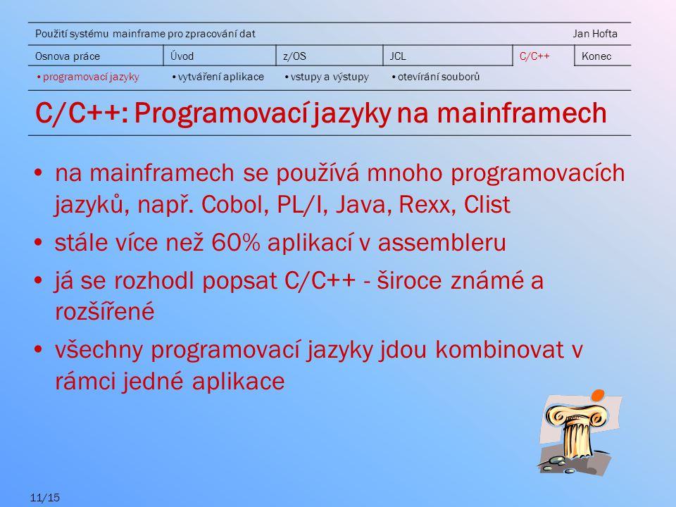 C/C++: Programovací jazyky na mainframech