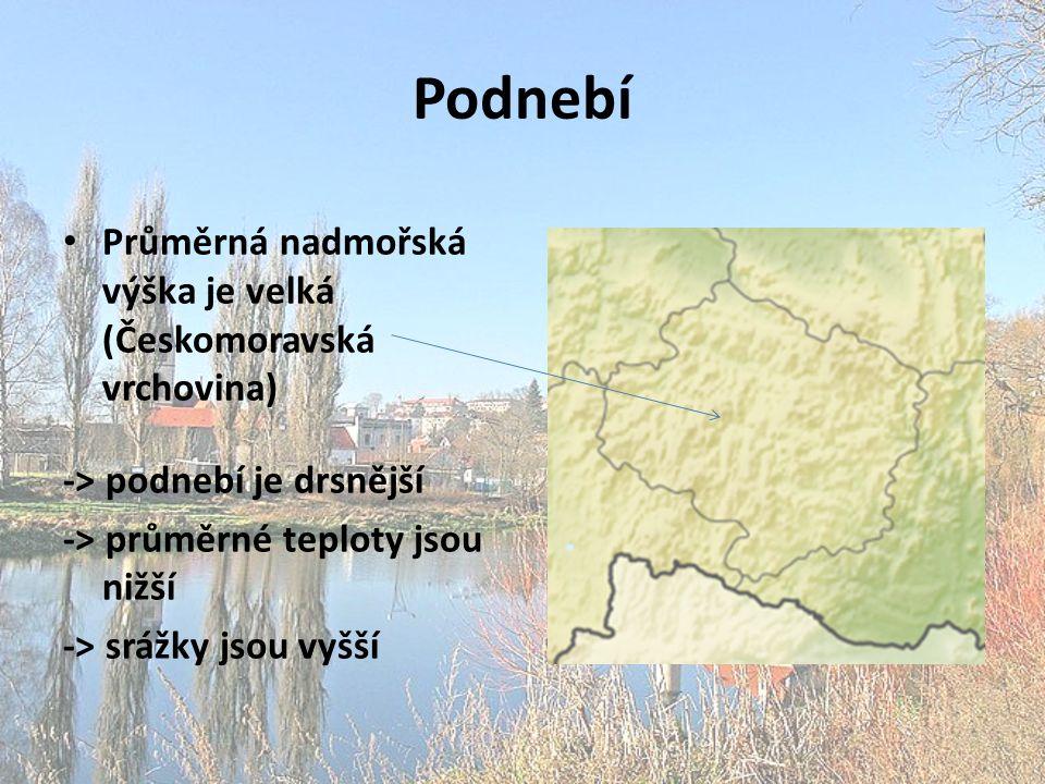 Podnebí Průměrná nadmořská výška je velká (Českomoravská vrchovina)