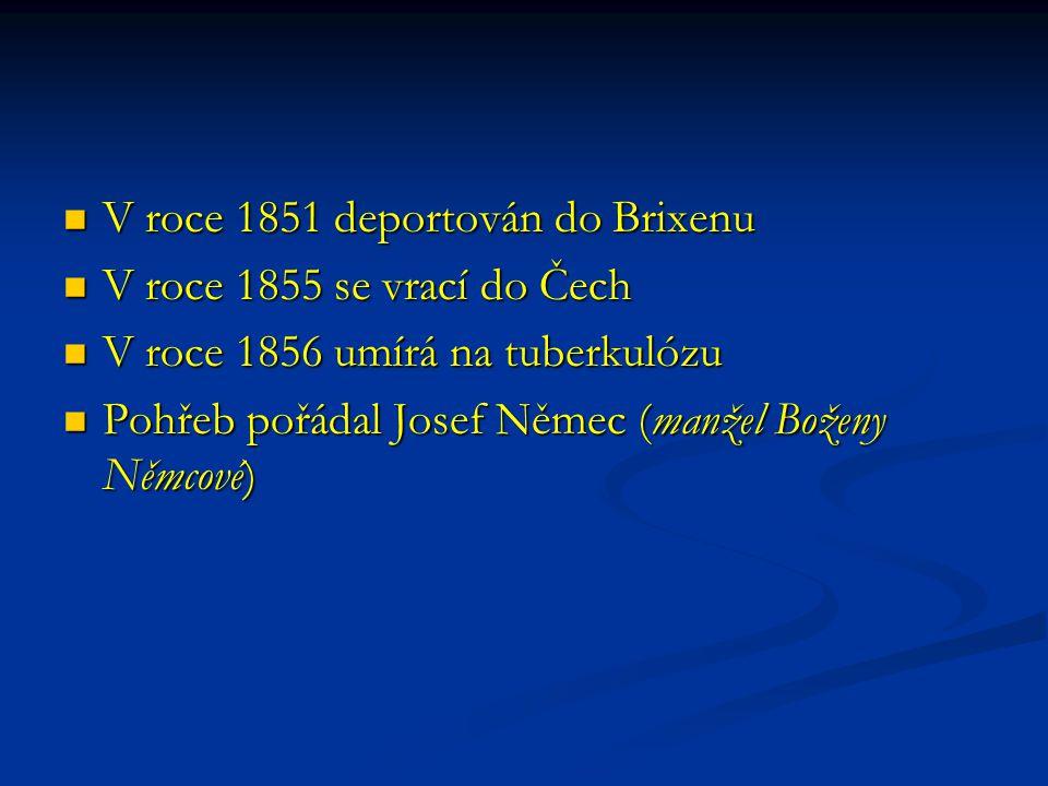 V roce 1851 deportován do Brixenu