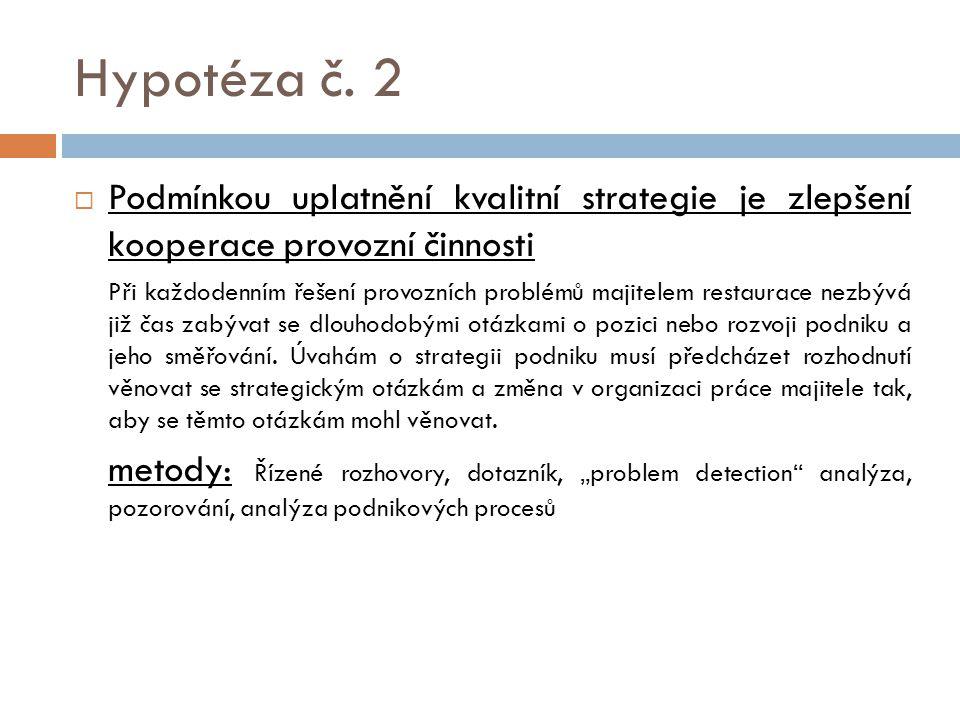 Hypotéza č. 2 Podmínkou uplatnění kvalitní strategie je zlepšení kooperace provozní činnosti.