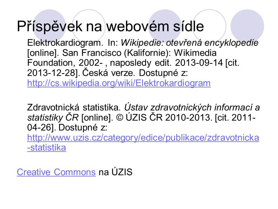 Příspěvek na webovém sídle