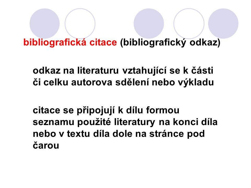 bibliografická citace (bibliografický odkaz)