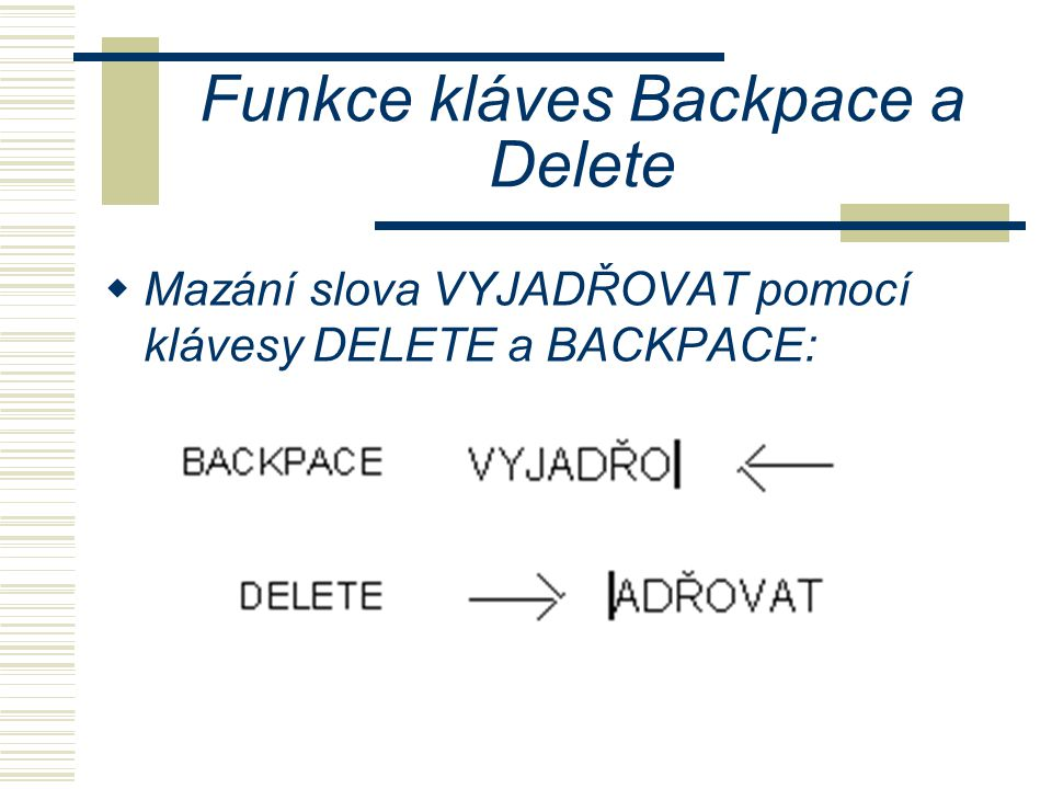 Funkce kláves Backpace a Delete
