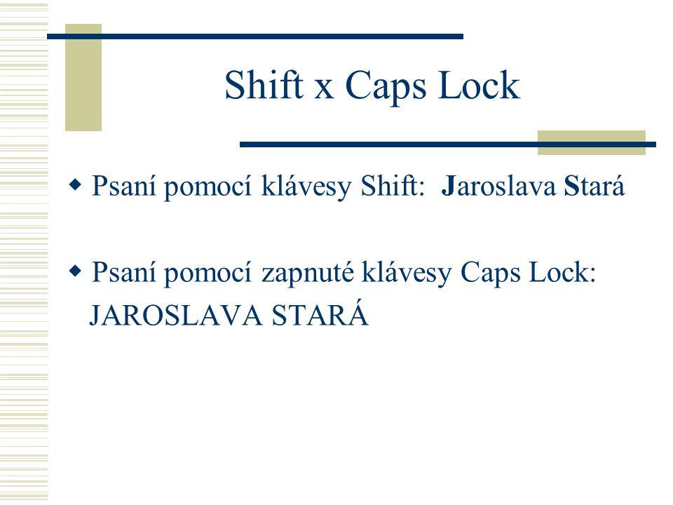 Shift x Caps Lock Psaní pomocí klávesy Shift: Jaroslava Stará