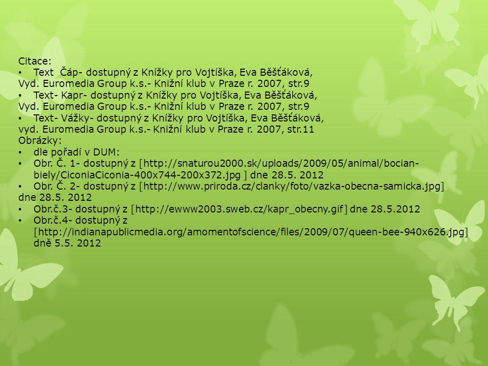 Citace: Text Čáp- dostupný z Knížky pro Vojtíška, Eva Běšťáková, Vyd. Euromedia Group k.s.- Knižní klub v Praze r. 2007, str.9.