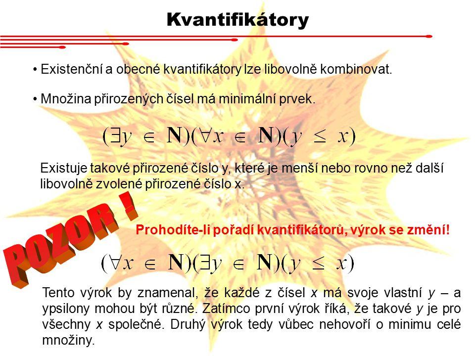 Kvantifikátory Existenční a obecné kvantifikátory lze libovolně kombinovat. Množina přirozených čísel má minimální prvek.