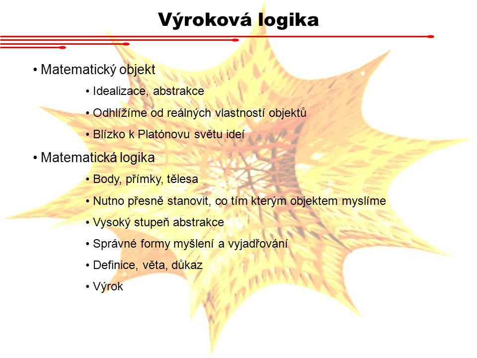 Výroková logika Matematický objekt Matematická logika