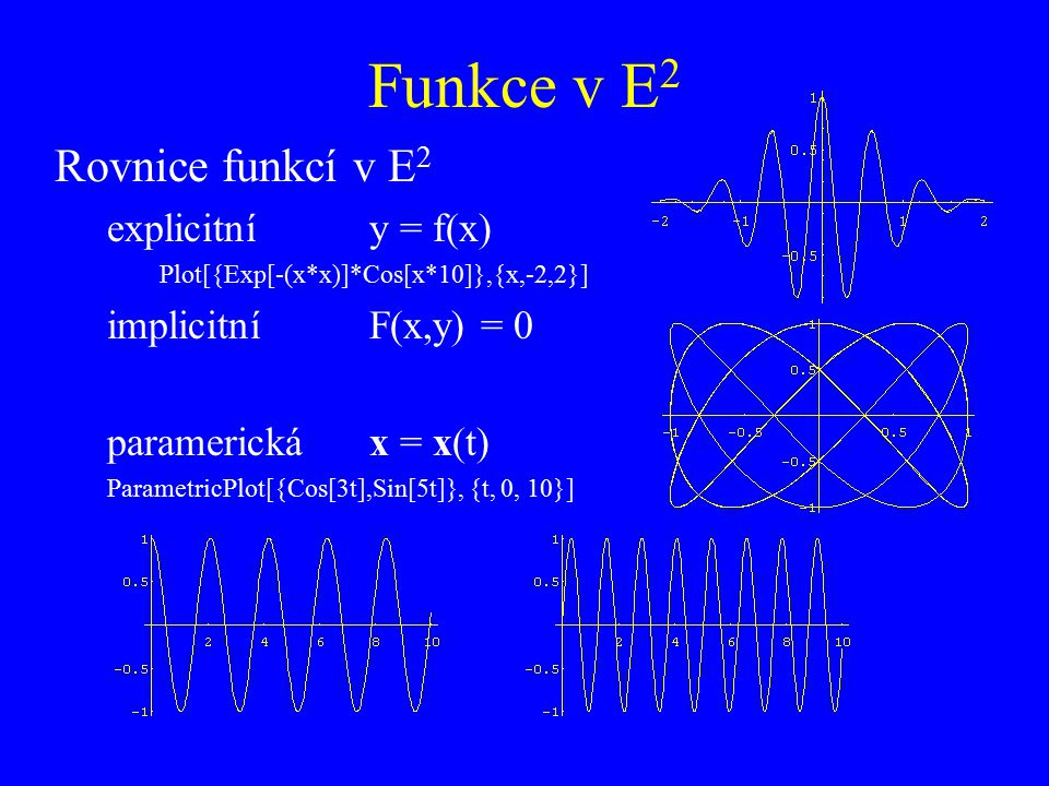 Funkce v E2 Rovnice funkcí v E2 explicitní y = f(x)