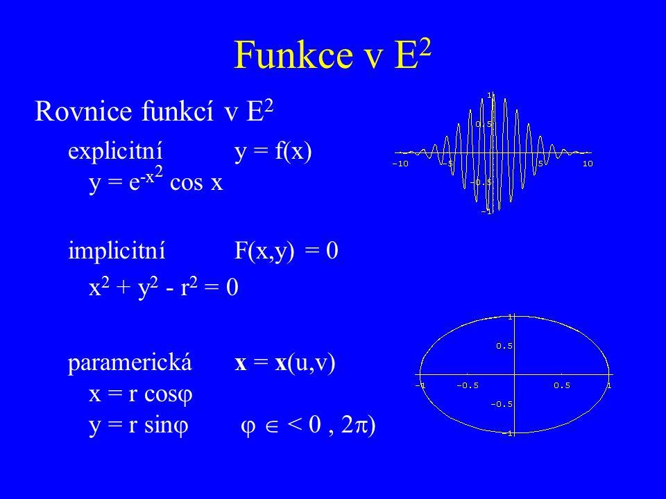 Funkce v E2 Rovnice funkcí v E2 explicitní y = f(x) y = e-x2 cos x