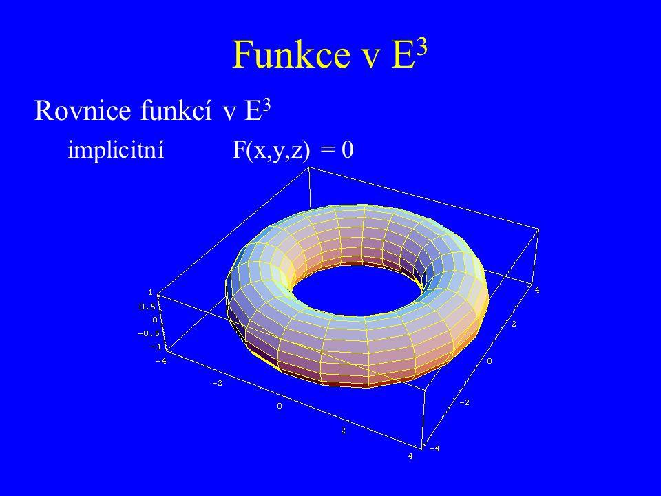 Funkce v E3 Rovnice funkcí v E3 implicitní F(x,y,z) = 0