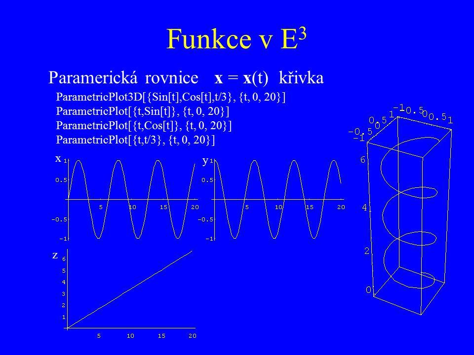 Funkce v E3 Paramerická rovnice x = x(t) křivka