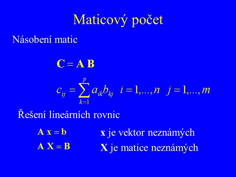 Maticový počet Násobení matic Řešení lineárních rovnic