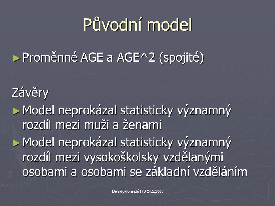 Původní model Proměnné AGE a AGE^2 (spojité) Závěry