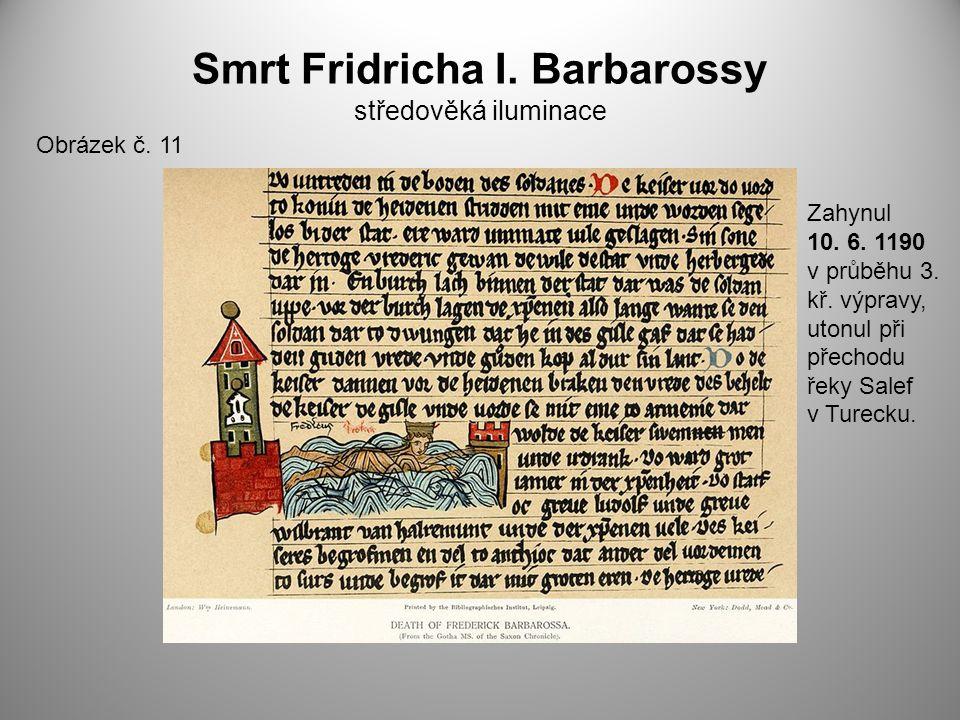 Smrt Fridricha I. Barbarossy středověká iluminace