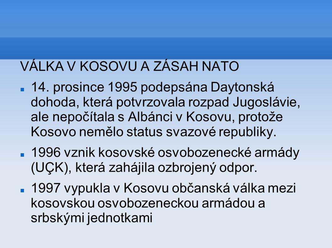 VÁLKA V KOSOVU A ZÁSAH NATO