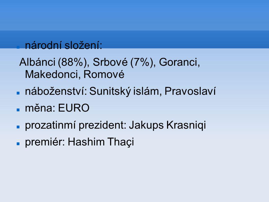 národní složení: Albánci (88%), Srbové (7%), Goranci, Makedonci, Romové. náboženství: Sunitský islám, Pravoslaví.