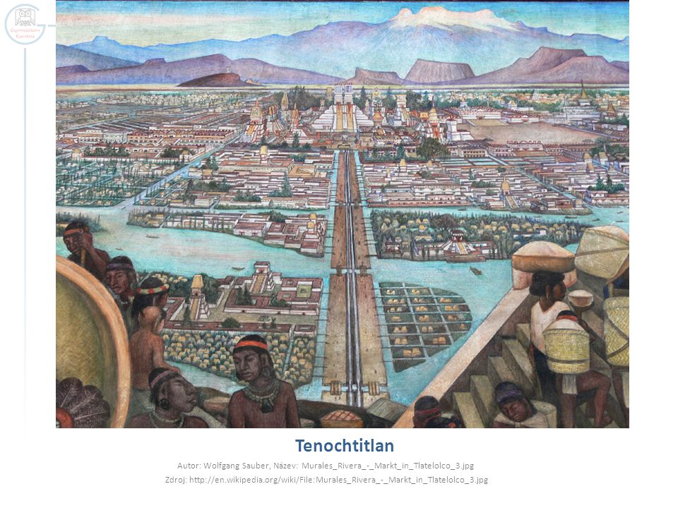 Tenochtitlan Autor: Wolfgang Sauber, Název: Murales_Rivera_-_Markt_in_Tlatelolco_3.jpg.