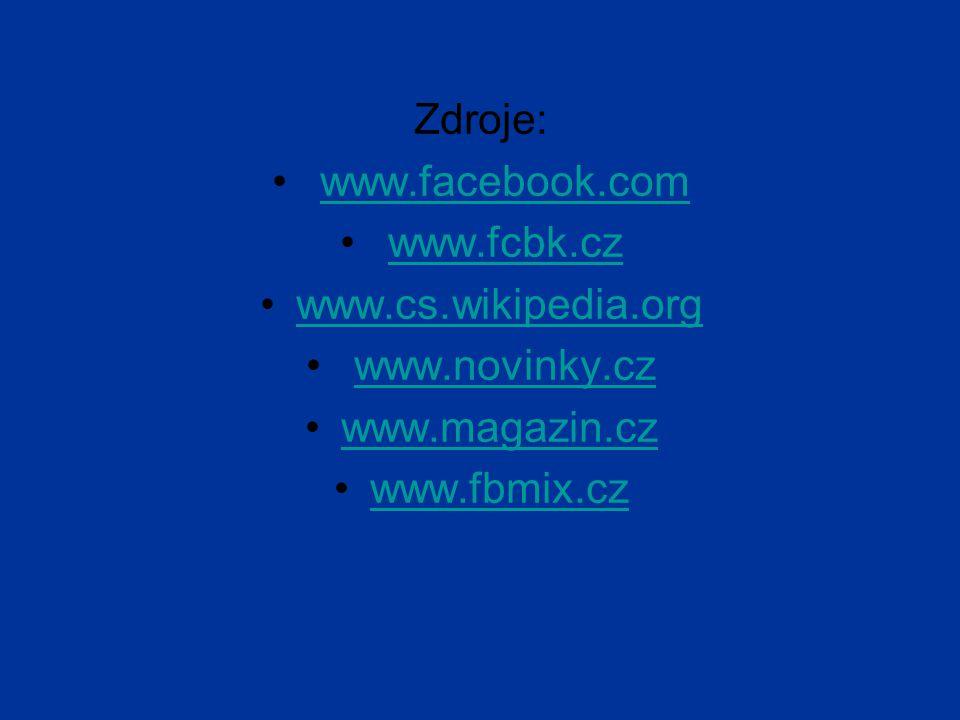 Zdroje: www.facebook.com. www.fcbk.cz. www.cs.wikipedia.org.