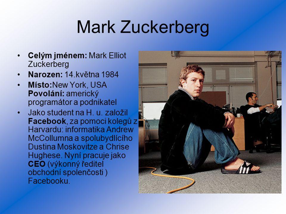 Mark Zuckerberg Celým jménem: Mark Elliot Zuckerberg