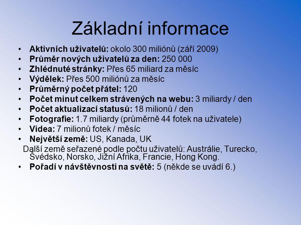 Základní informace Aktivních uživatelů: okolo 300 miliónů (září 2009)
