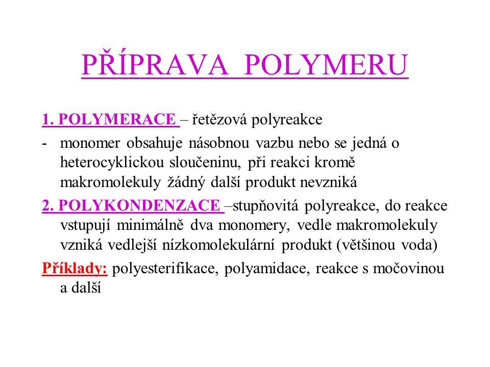 PŘÍPRAVA POLYMERU 1. POLYMERACE – řetězová polyreakce
