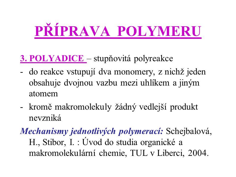 PŘÍPRAVA POLYMERU 3. POLYADICE – stupňovitá polyreakce