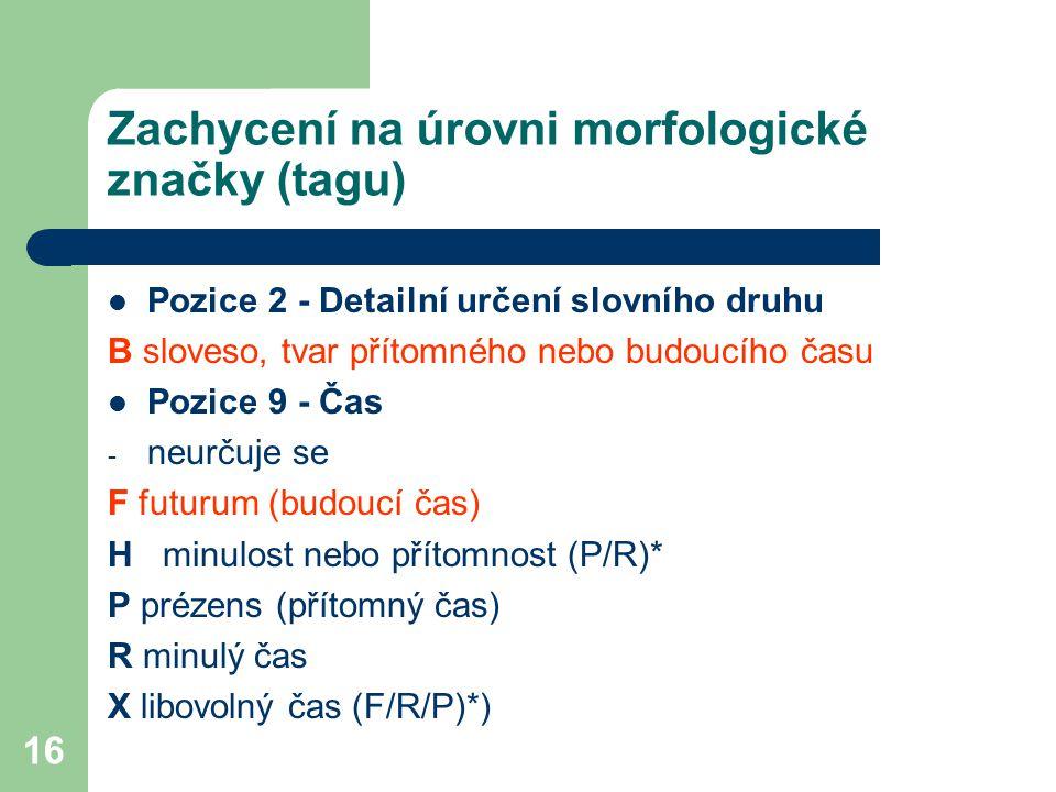 Zachycení na úrovni morfologické značky (tagu)