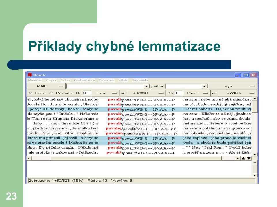 Příklady chybné lemmatizace