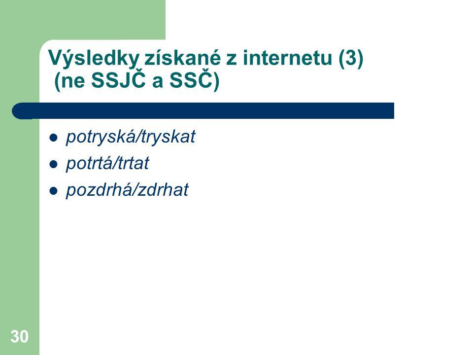 Výsledky získané z internetu (3) (ne SSJČ a SSČ)