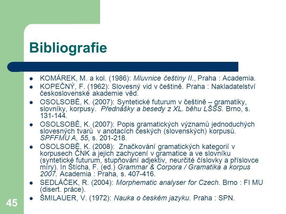 Bibliografie KOMÁREK, M. a kol. (1986): Mluvnice češtiny II., Praha : Academia.