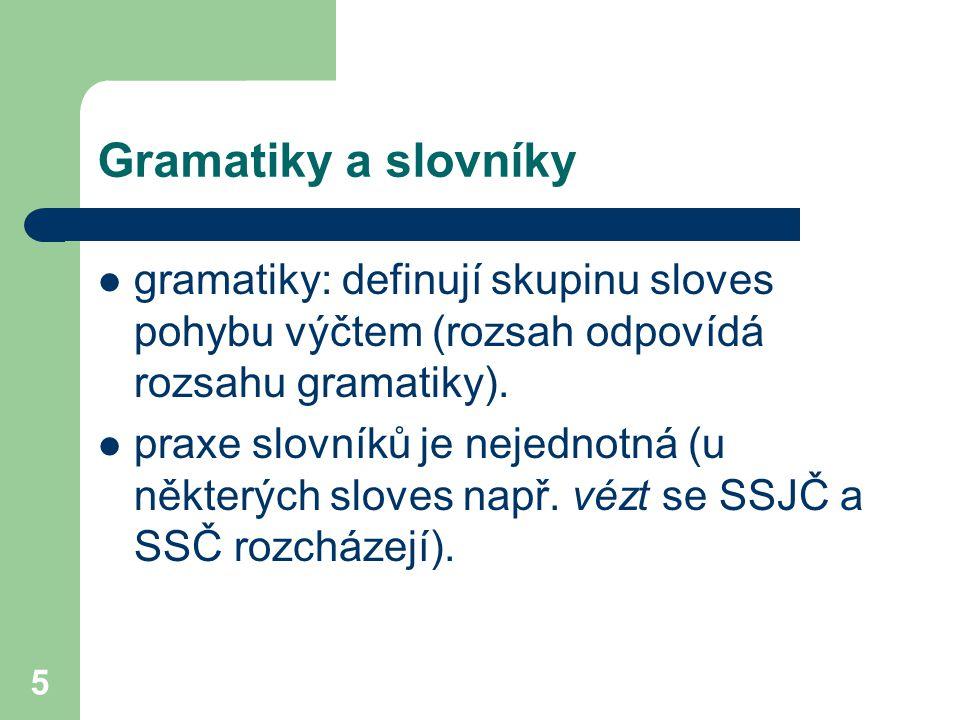 Gramatiky a slovníky gramatiky: definují skupinu sloves pohybu výčtem (rozsah odpovídá rozsahu gramatiky).