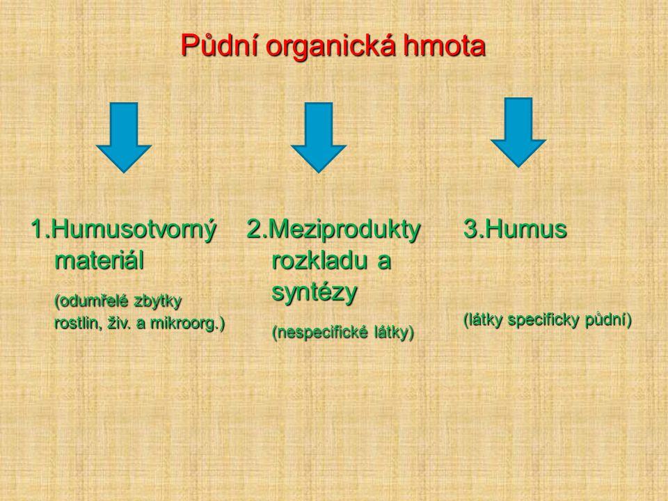 Půdní organická hmota 1.Humusotvorný materiál