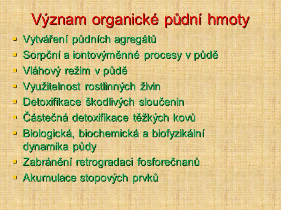Význam organické půdní hmoty