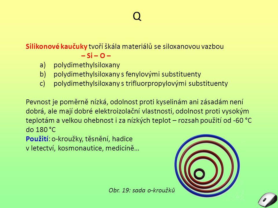 Q Silikonové kaučuky tvoří škála materiálů se siloxanovou vazbou