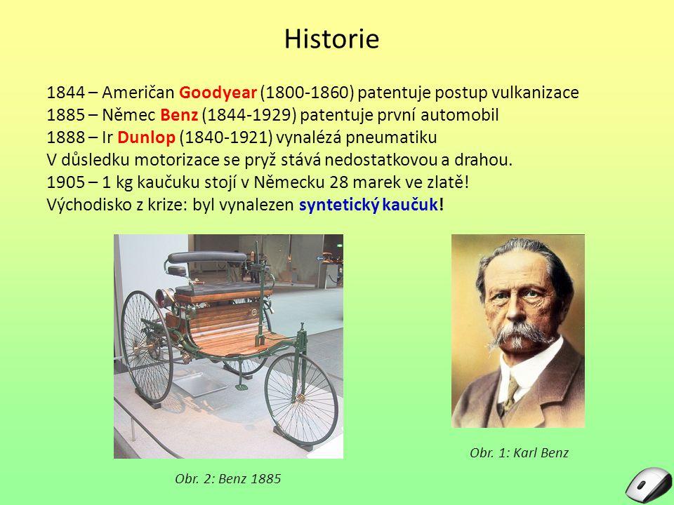 Historie 1844 – Američan Goodyear (1800-1860) patentuje postup vulkanizace. 1885 – Němec Benz (1844-1929) patentuje první automobil.