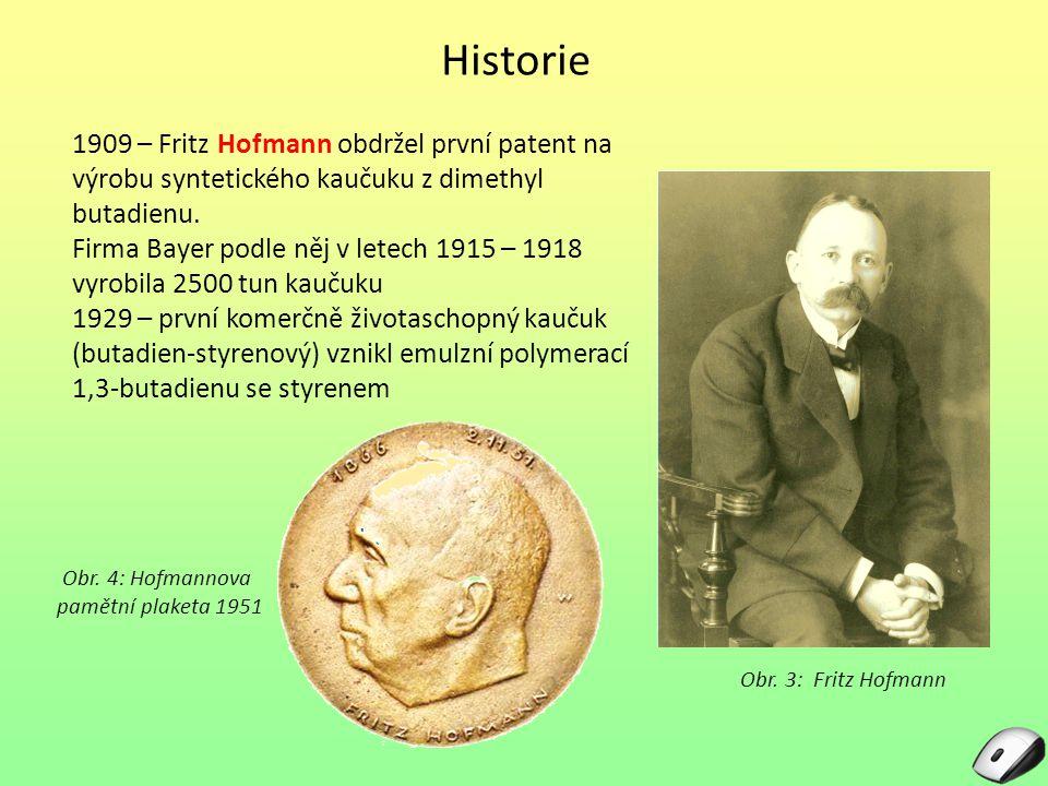 Historie 1909 – Fritz Hofmann obdržel první patent na výrobu syntetického kaučuku z dimethyl butadienu.