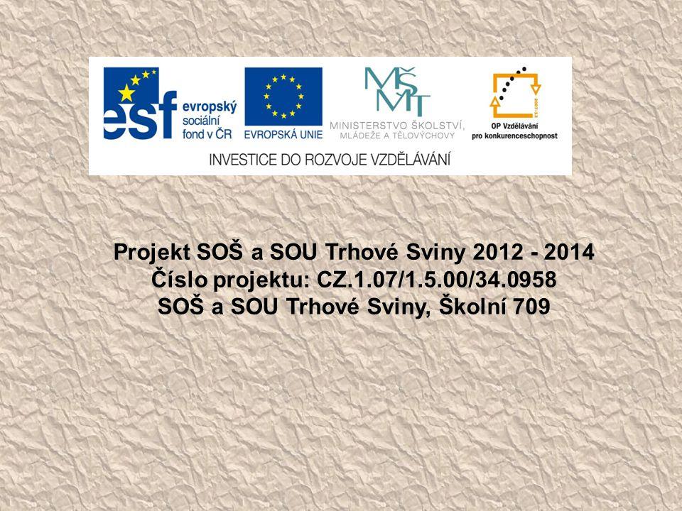 Projekt SOŠ a SOU Trhové Sviny 2012 - 2014
